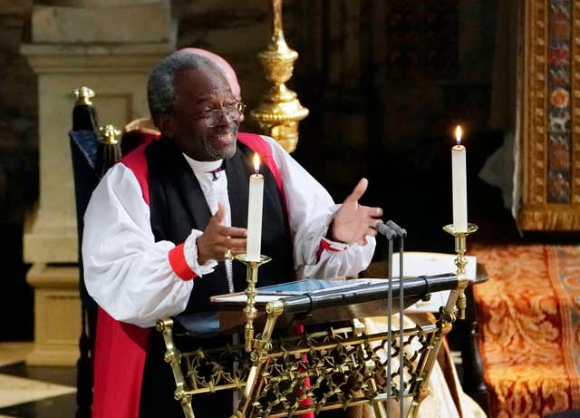 The Most Rev Bishop Michael Curry, primate of the Episcopal Church, gives an address (Owen Humphreys/PA)