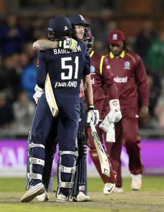 Ben Stokes, right, and Jonny Bairstow celebrate victory over the West Indies in 2017