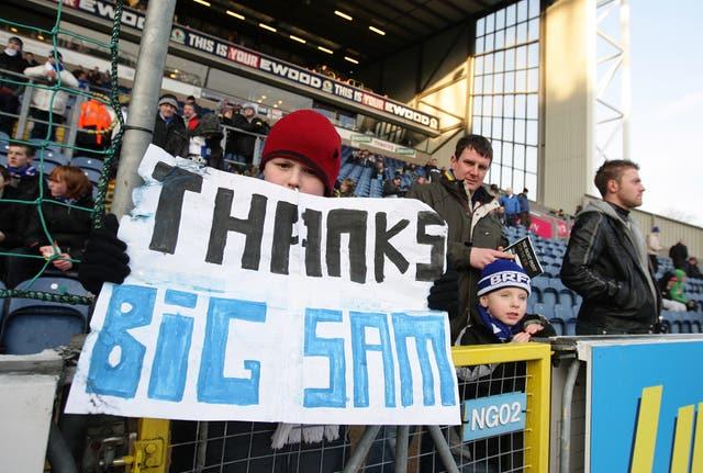 Blackburn fans show their support for Sam Allardyce