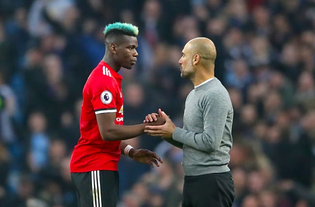 Paul Pogba, left, inspired Manchester United's turnaround against their city rivals a couple of years ago (Nick Potts/PA)