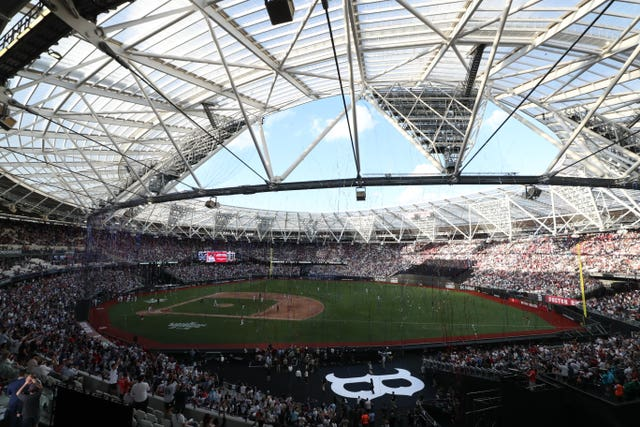 The London Stadium hosts the MLB London Series match between the Boston Red Sox and the New York Yankees