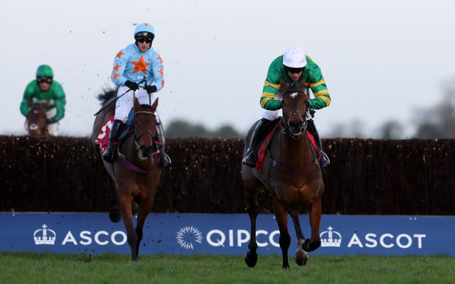 Defi Du Seuil (right) on his way to winning last year's Clarence House Chase