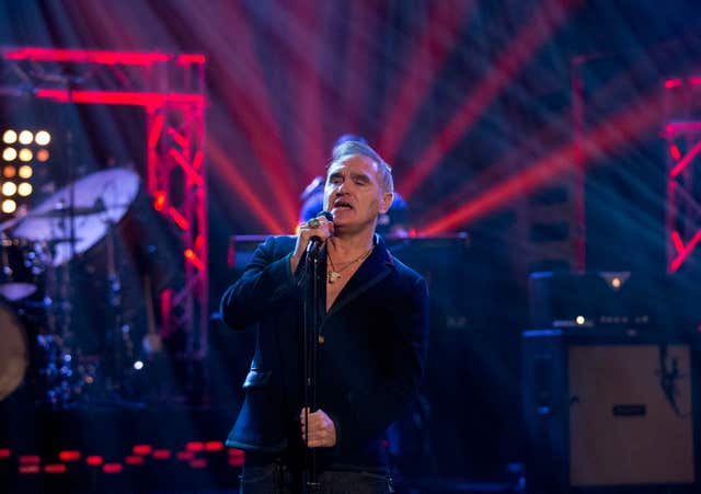 Morrissey performing during filming of the Graham Norton Show