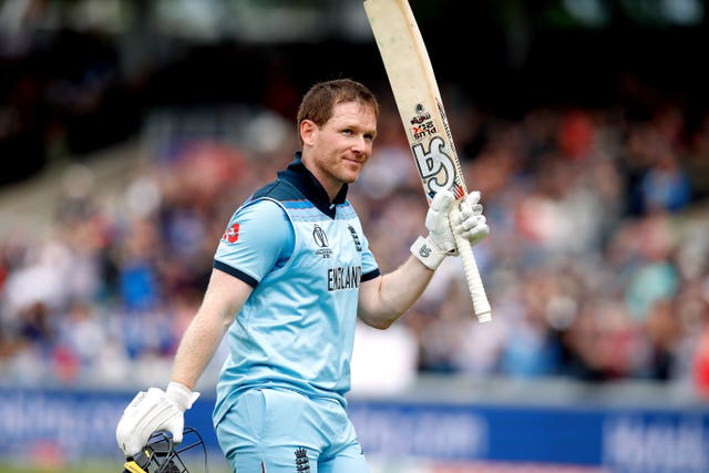 Eoin Morgan leaves the field after being dismissed