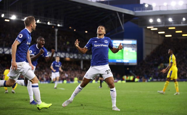 Substitute Dominic Calvert-Lewin celebrates scoring Everton's first goal
