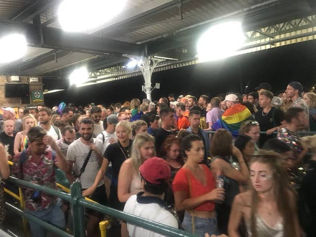 Crowds of people at Brighton railway station following Brighton Pride last year