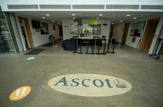 Social distancing measures inside the weighing room at Ascot