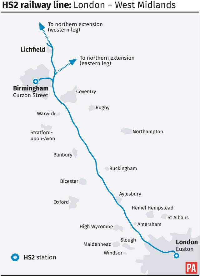 HS2 railway line: London - West Midlands (PA Graphics)