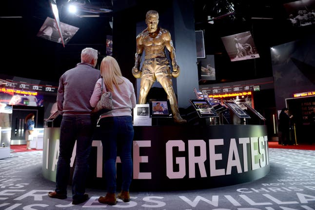 A statue of Muhammad Ali at the Muhammad Ali exhibition at O2 Arena