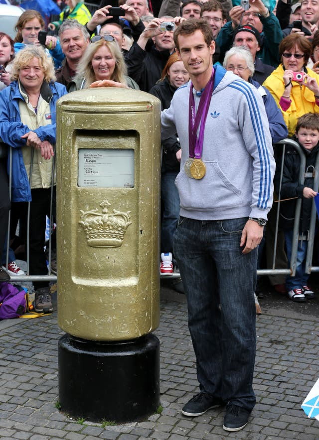 Andy Murray with golden post box