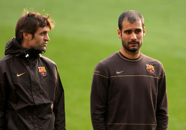Pep Guardiola (right) and assistant Tito Vilanova, who had his own run-in with Mourinho