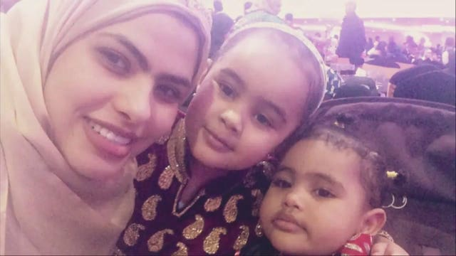 Rania Ibrahim with her daughters Fethia Hassan, centre, and Hania Hassan