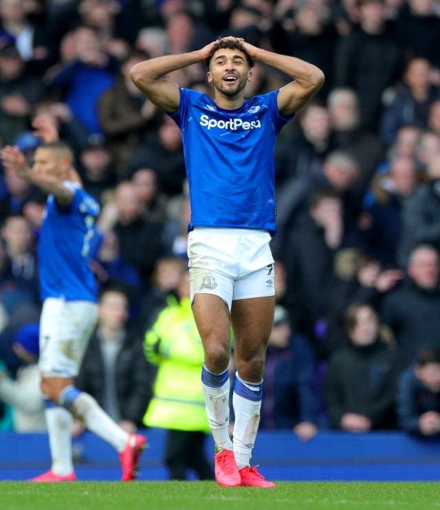 Dominic Calvert-Lewin reacts after his goal was ruled out by VAR