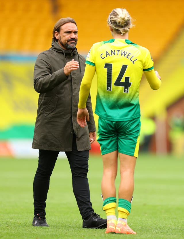 Norwich manager Daniel Farke, left, led the club to the Sky Bet Championship title in the 2018-19 season
