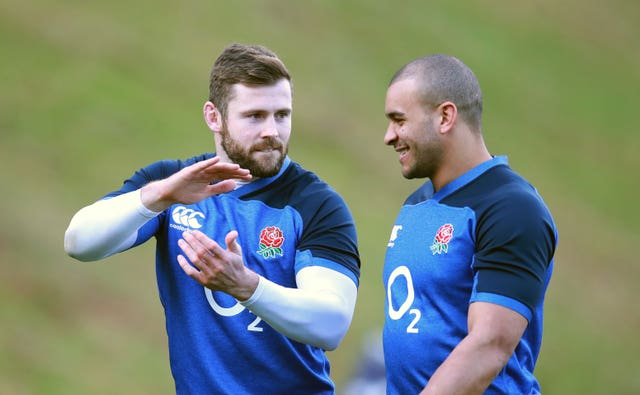Elliot Daly and Jonathan Joseph during a training session at Pennyhill Park
