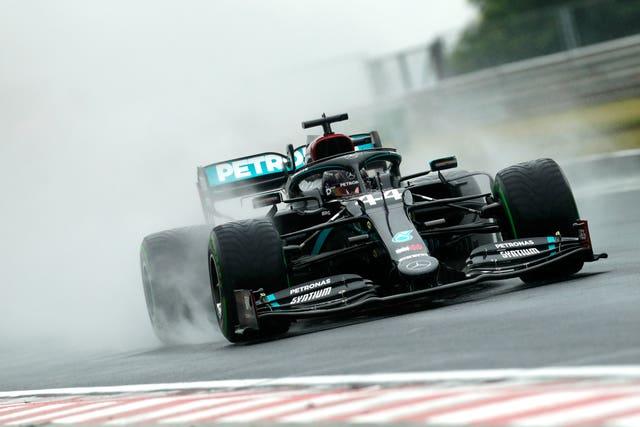 Lewis Hamilton during a wet second practice