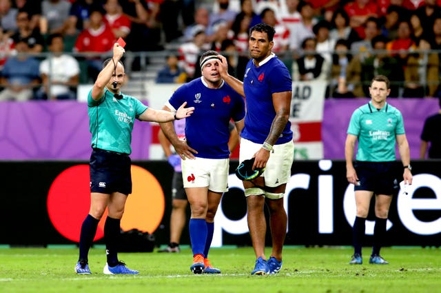 Referee Jaco Peyper shows France's Sebastien Vahaamahina a red card in their quarter-final loss to Wales
