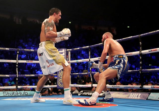 Oleksandr Usyk, left, defeated Tony Bellew in November 2018 (Nick Potts/PA)