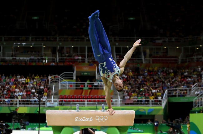 Whitlock followed up his gold on the floor with one on the pommel horse two hours later