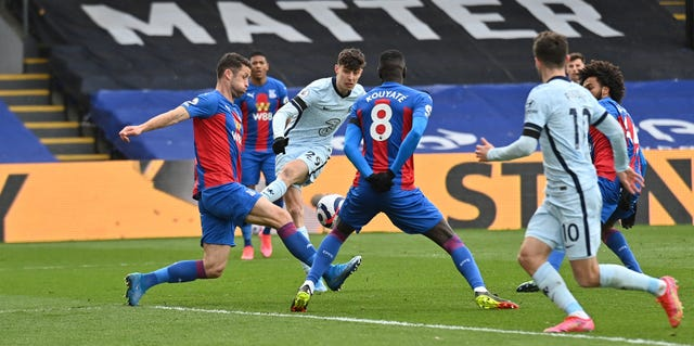 Kai Havertz, centre, opened the scoring at Selhurst Park