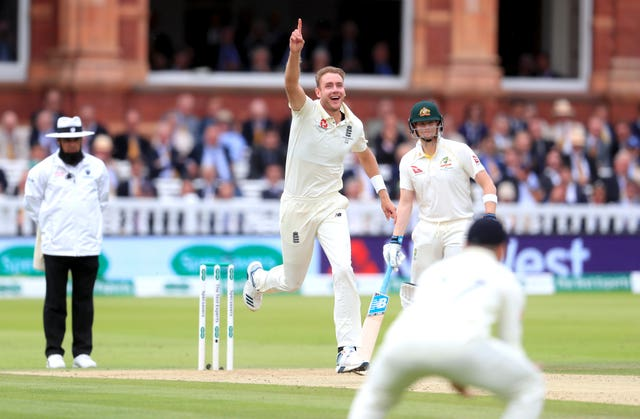 Stuart Broad celebrates the dismissal of Australia's Travis Head