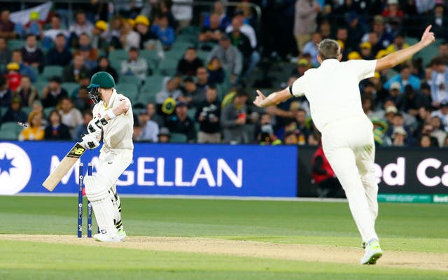 Craig Overton took the wicket of Steve Smith on his debut