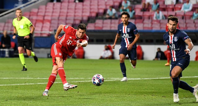 Robert Lewandowski was denied by the post in the first half