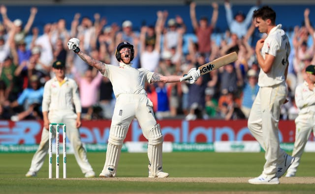 Ben Stokes celebrates hitting the winning runs as his incredible knock earned England a one-wicket win in the third Ashes Test