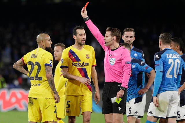 Barcelona finished the match with 10 men following a late red card for  Arturo Vidal in Naples