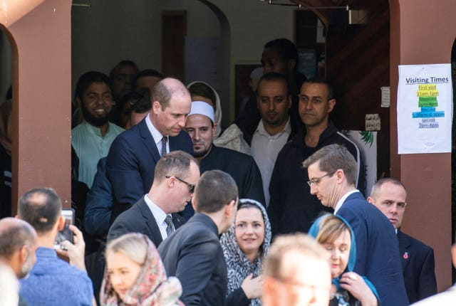 William acknowledges the crowd after visiting the Al Noor mosque