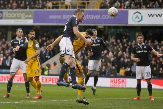 Alex Pearce headed Millwall into the lead against Brighton