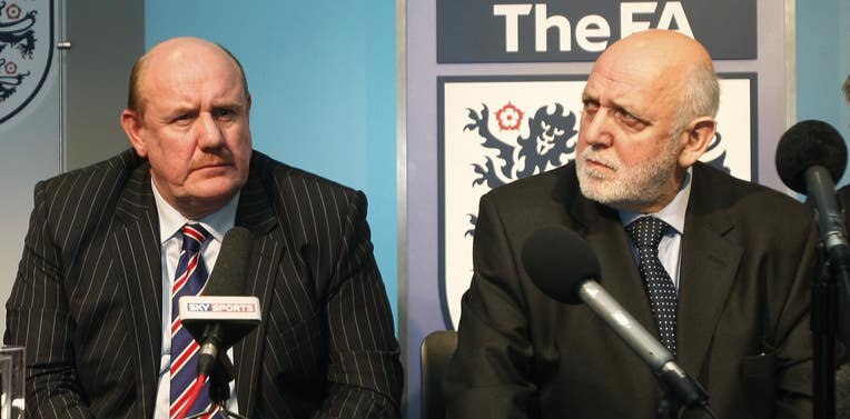 Brian Barwick, left, during a news conference to announce the sacking of England manager Steve McClaren