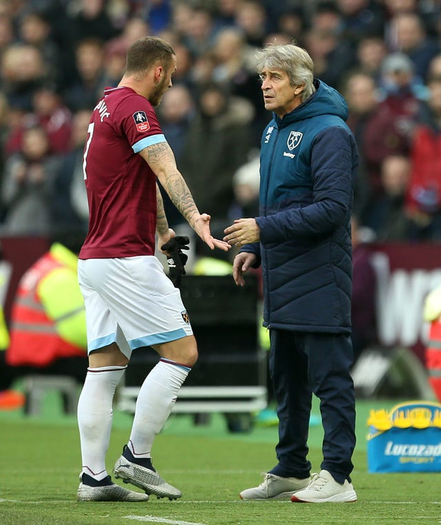 West Ham forward Marko Arnautovic was upset when he was substituted after just 19 minutes against Birmingham