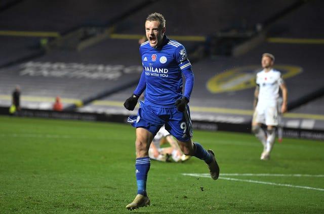 Jamie Vardy celebrates the clincher