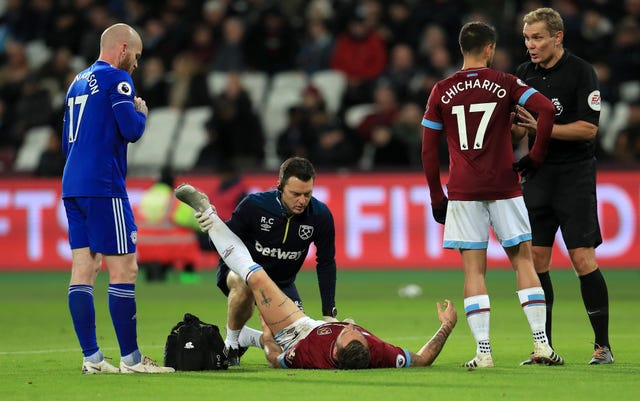 West Ham United's Marko Arnautovic suffers a game-ending injury. (PA)