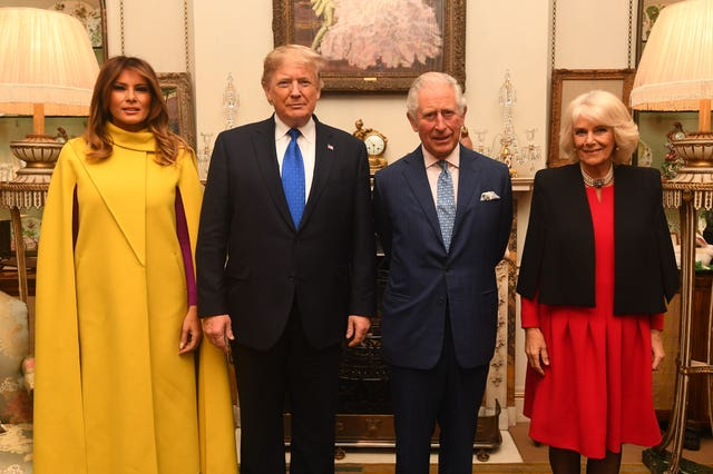 The Prince of Wales and the Duchess of Cornwall meets US President Donald Trump and wife Melania at Clarence House, central London, as Nato leaders gather to mark 70 years of the alliance