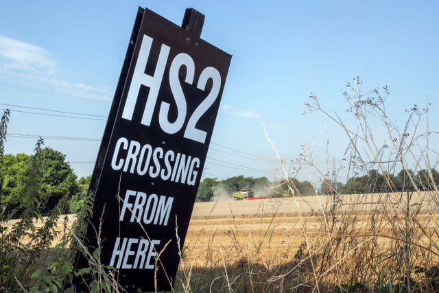 An HS2 sign near the village of South Heath in Buckinghamshire