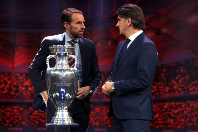 Gareth Southgate (left) and Croatia coach Zlatko Dalic at the Euro 2020 draw in Bucharest