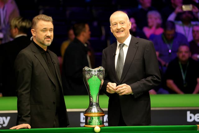 Stephen Hendry, left, and Steve Davis