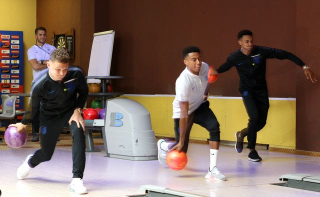 Trent Alexander-Arnold (right) enjoys some down time with team-mates Kieran Trippier and Jesse Lingard