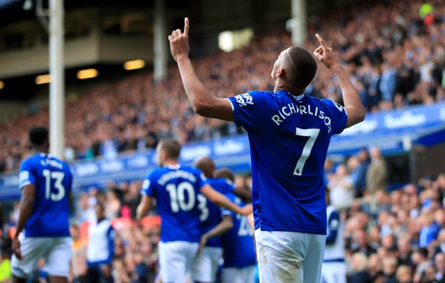 Richarlison celebrates scoring at Goodison Park