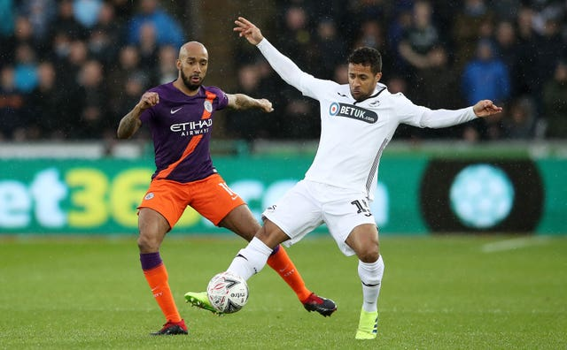 Fabian Delph was taken off after 57 minutes as Manchester City won at Swansea