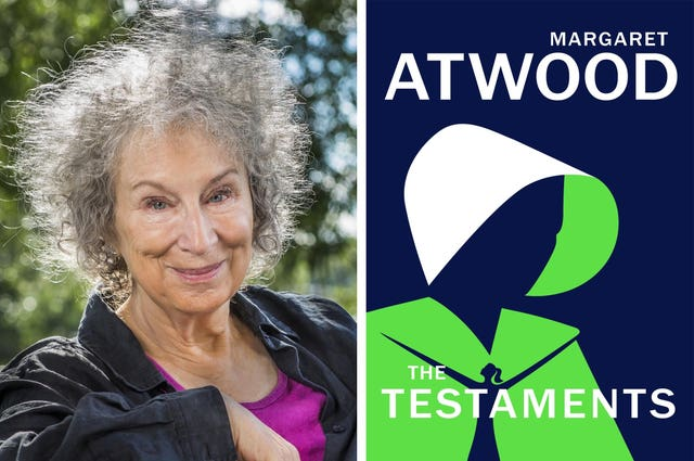 Margaret Atwood with the front cover of The Testaments
