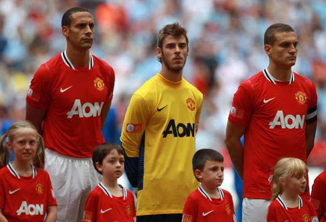 David De Gea, centre, joined Manchester United in 2011