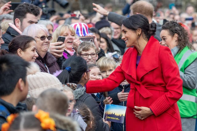 When Meghan met well-wishers during her visit to Birkenhead she chatted about her due date. Charlotte Graham/Daily Telegraph