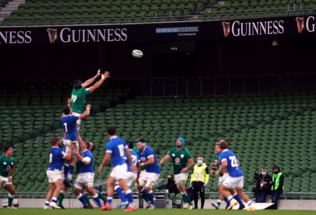 Empty seats in the stands as Ireland win a line out during the Six Nations match at the Aviva Stadium, Dublin