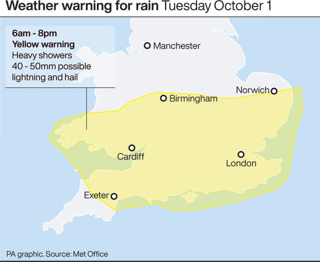 Weather warning for rain Tuesday Oct 1