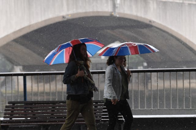 People walk in the rain in central London