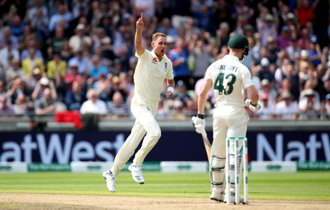 Stuart Broad celebrates one of his four scalps