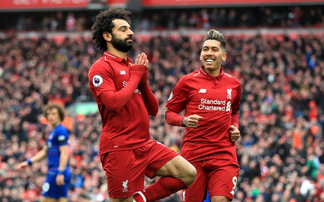 Liverpool's Mohamed Salah celebrates scoring his side's second goal of the game against Chelsea